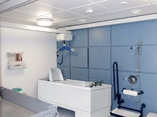 Bathroom with ceiling hoist from Abacus Healthcare