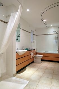 Crieff Hydro - accessible bathroom with ceiling track hoist and roll in shower